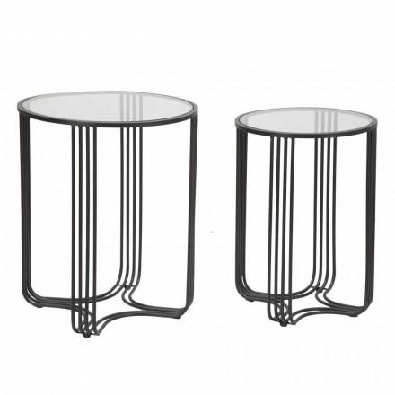Paire de Tables Basses Rondes en Verre et Fer Design Moderne - Ezra