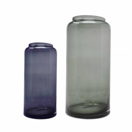 Paire de Vases Décoratifs en Verre Coloré Bleu et Fumé, Design Moderne - Adriano