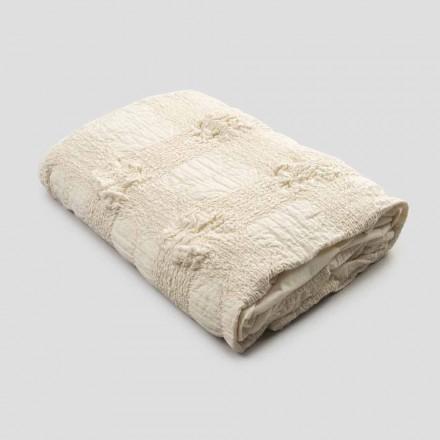 Couvre-lit double en coton avec broderie élastique et bordure à volant - Trimuno