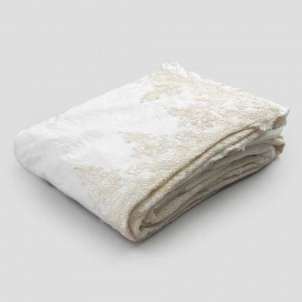 Couvre-lit en lin avec dentelle sur bords volants - Paucis