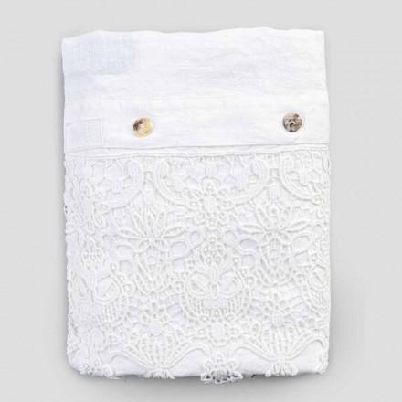 Housse de couette double en lin avec sac contenant des gouttes de dentelle - Amadeus