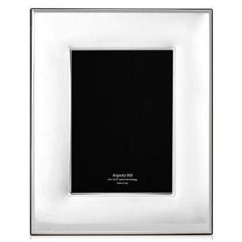 Cadre photo moderne au design vertical en argent, verre et bois - Sammy