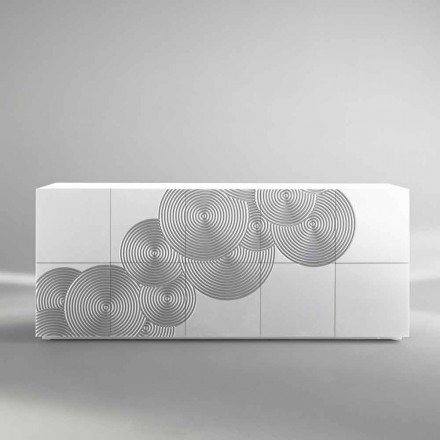 Placard blanc, noir, or  avec 10 portes Ardesia, design moderne