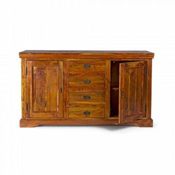 Buffet classique en bois d'acacia massif finition rustique et antique - Enia