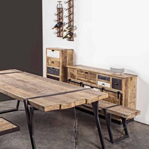 Buffet avec structure en manguier et acier de style industriel - Vidia