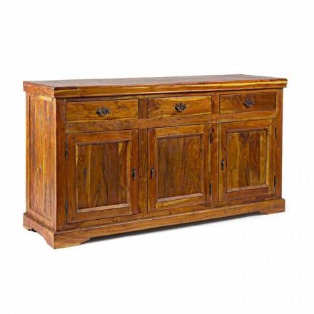 Buffet de design classique en bois d'acacia massif au fini rustique - Malaya
