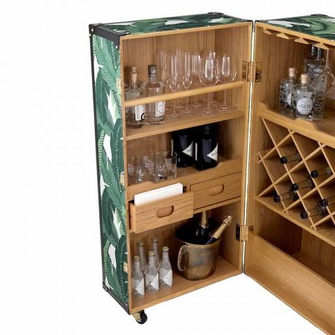 Buffet design avec roulettes en MDF, bois plaqué et tissu - Amazonia