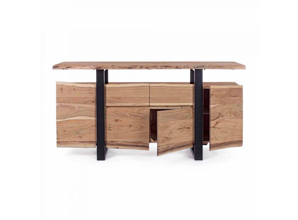 Buffet design en bois d'acacia et acier peint Homemotion - Lanza