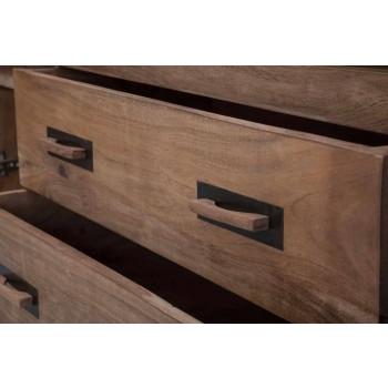 Buffet design en bois d'acacia et fer avec 2 portes et 2 tiroirs - Dalya