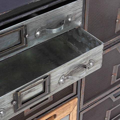 Buffet en acier avec détails en zinc et bois de style industriel - Inde