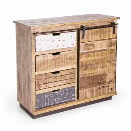 Buffet en bois et acier avec porte et 4 tiroirs Style industriel - Renza
