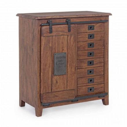Buffet en bois et MDF avec inserts et décorations en acier Homemotion - Pablo