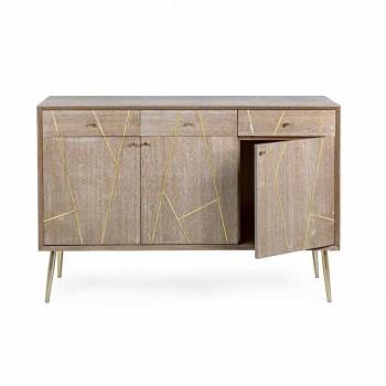Buffet en bois de teck avec inserts en acier doré de style vintage - Mayra