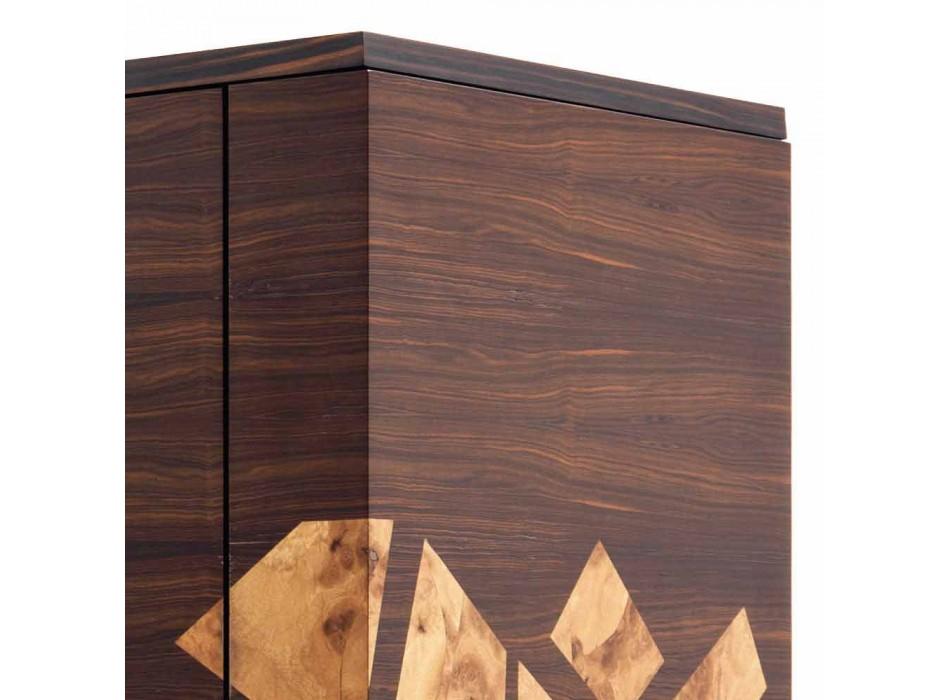 Grilli Zarafa buffet 3 portes moderne en noyer et bois d'ébène