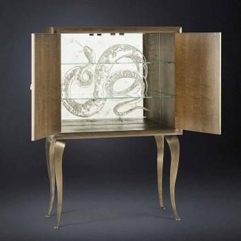Buffet contemporain avec 2 portes en bois massif et cuir aniline Joy