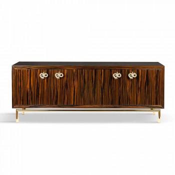 Buffet contemporain avec 4 portes en bois d'ébène poli Ada 2