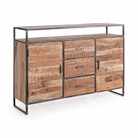 Buffet moderne avec structure en bois d'acacia et acier Homemotion - Posta