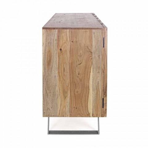 Buffet moderne en bois d'acacia avec inserts métalliques Homemotion - Sonia