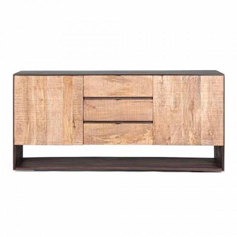 Buffet moderne en manguier avec poignées en acier Homemotion - Amilcare