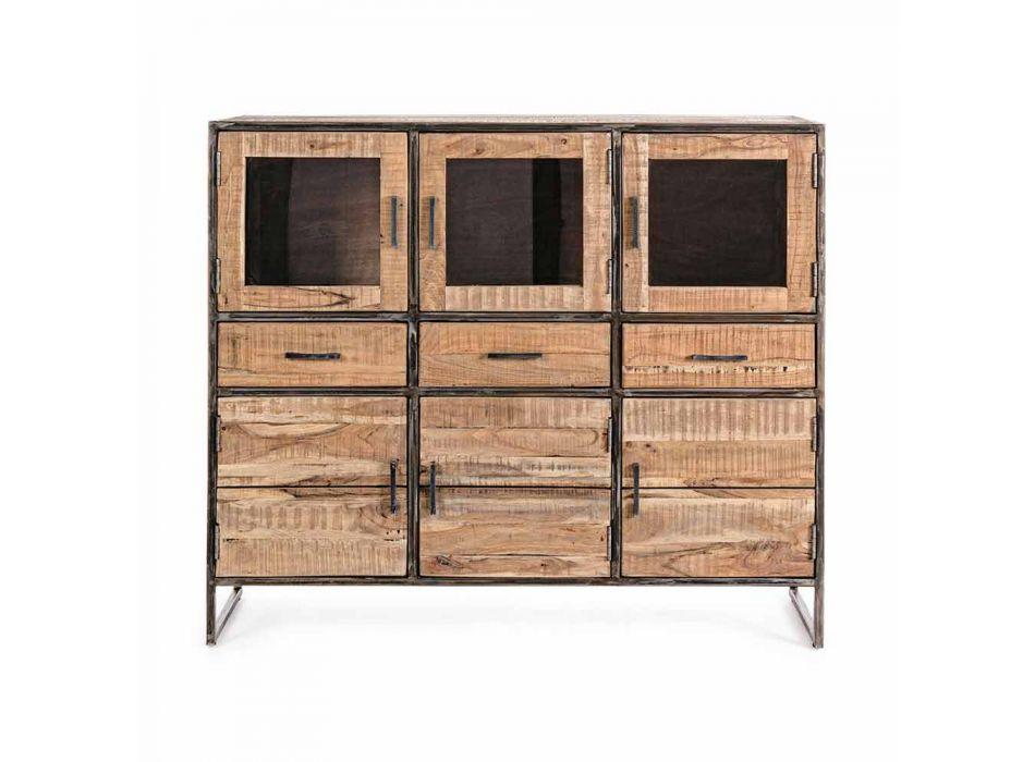 Buffet de style industriel en bois d'acacia et acier Homemotion - Zompo