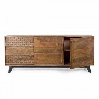 Buffet de style vintage avec structure et pieds en bois et dossier en Mdf - Avelina