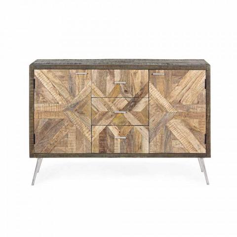 Buffet de style vintage avec structure en bois et détails en acier - Adiva