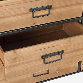 Buffet vintage avec portes et tiroirs effet rotin en bois de sapin - Freddy