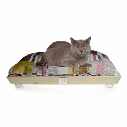 Chenil pour chiens et chats en bois massif avec coussin lavable fabriqué en Italie - Juma