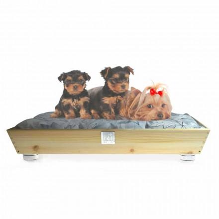 Chenil pour chiens et chats en bois massif avec poignées et coussin Made in Italy - Lyn