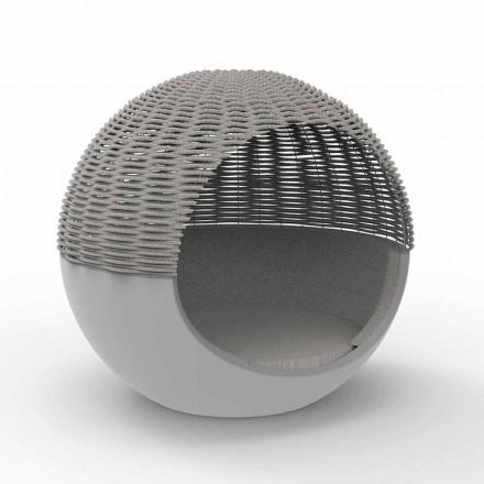 Lit de jardin de luxe rond design avec corde tressée - Ulm Moon par Vondom