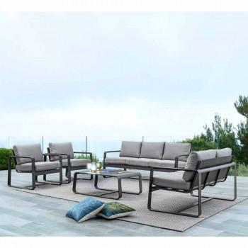 Canapé d'extérieur 2 places en aluminium avec coussins en tissu - Mirea