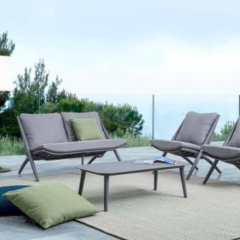 Canapé d'extérieur 2 places en aluminium et corde avec coussins Homemotion - Gillian