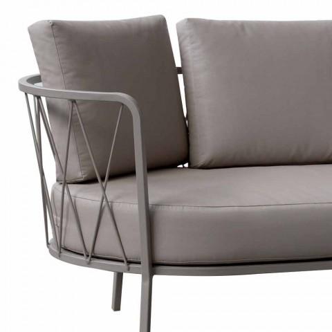 Canapé d'extérieur 2 places en métal et tissu avec coussins Made in Italy - Olma