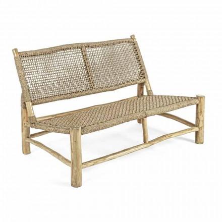 Canapé d'extérieur 2 places en branches de teck et fibre synthétique - Tecno
