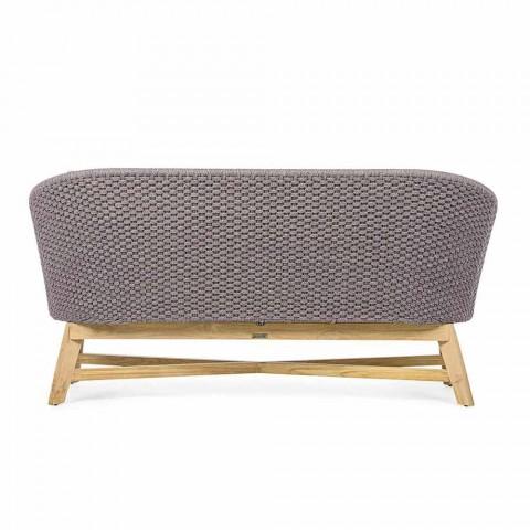 Canapé d'extérieur 2 places en tissu avec structure en teck, Homemotion - Azeno