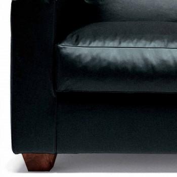 Canapé 2 places en cuir avec pieds en bois de noyer Fabriqué en Italie - Alessandria