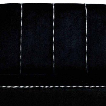 Canapé 2 Places en Velours Noir avec Coutures Contrastées Fabriqué en Italie - Roulette