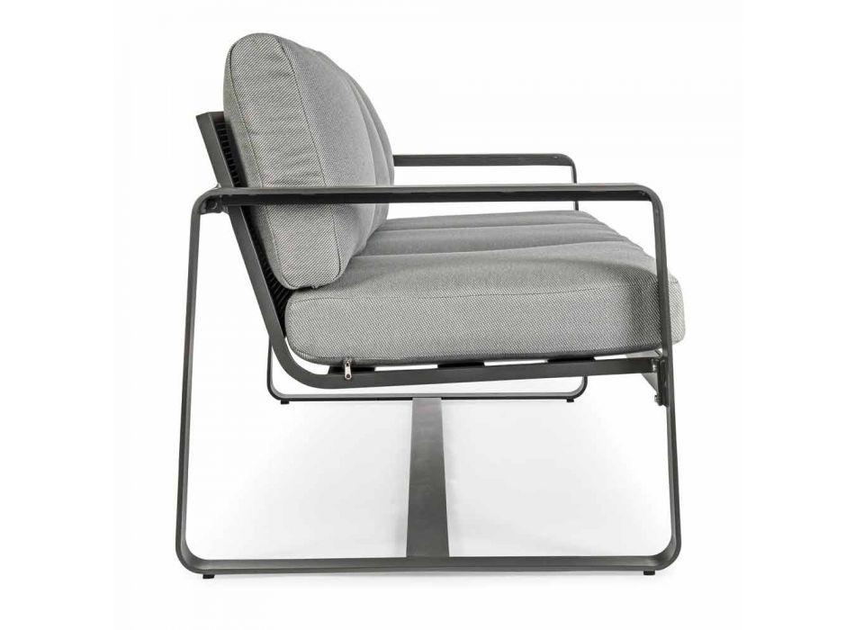 Canapé d'extérieur 3 places avec coussins de dossier et assise en tissu - Mirea