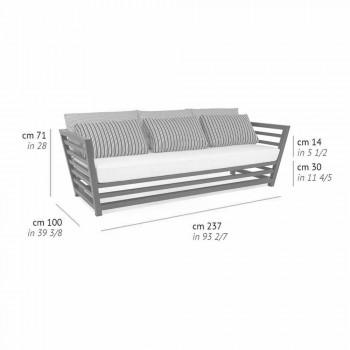Canapé d'extérieur 3 places en aluminium blanc ou noir et coussins bleus - Cynthia