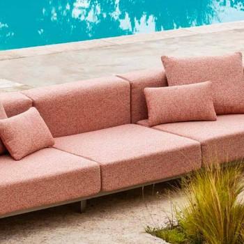 Canapé d'extérieur 3 places en aluminium avec rallonge et chaise longue - Filomena