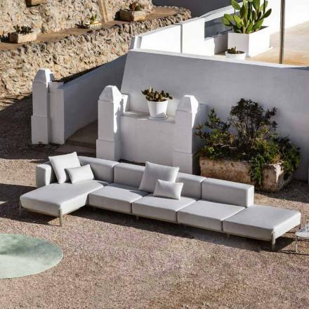 Canapé d'extérieur 3 places en aluminium avec pouf et chaise longue - Filomena