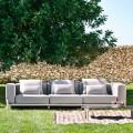 Canapé d'extérieur 3 places en aluminium et tissu de haute qualité - Filomena