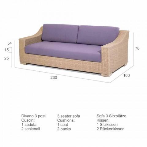 Canapé 3 places polyéthylène extérieur et Joe Tempotest