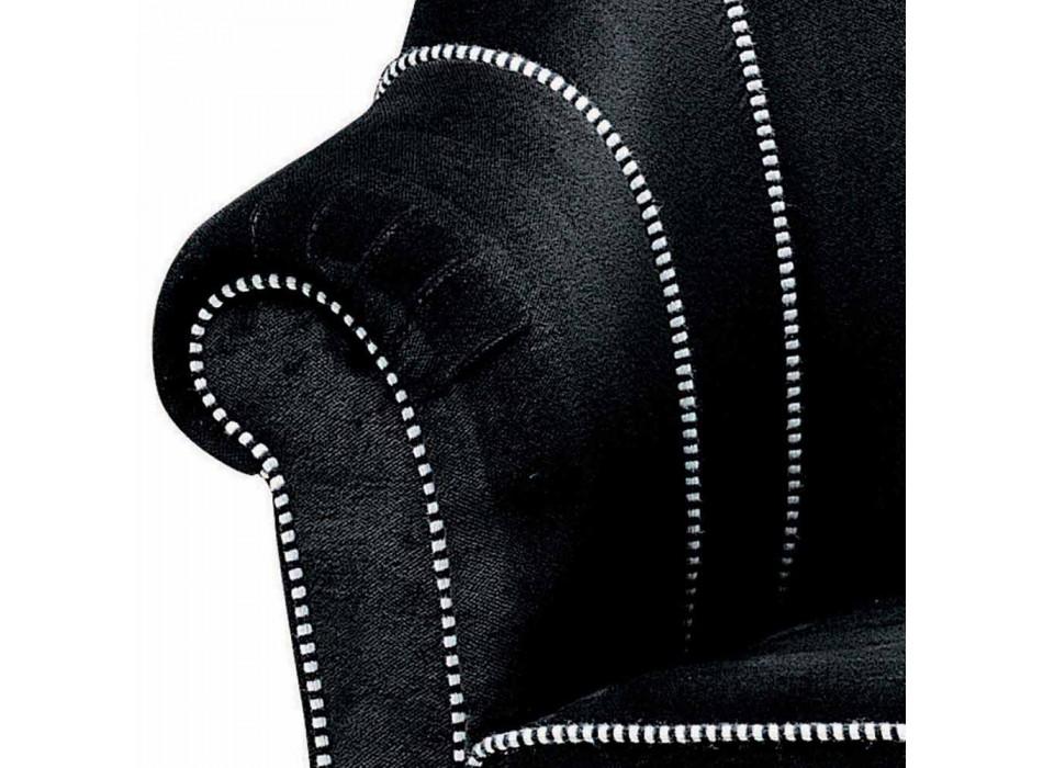 Canapé 3 Places Rembourré en Velours avec Coutures Blanches Fabriqué en Italie - Roulette