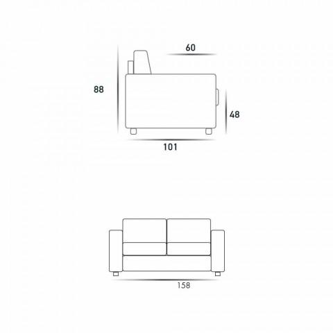 Canapé 2 places en cuir design moderne faux / tissu fabriqué en Italie Mora