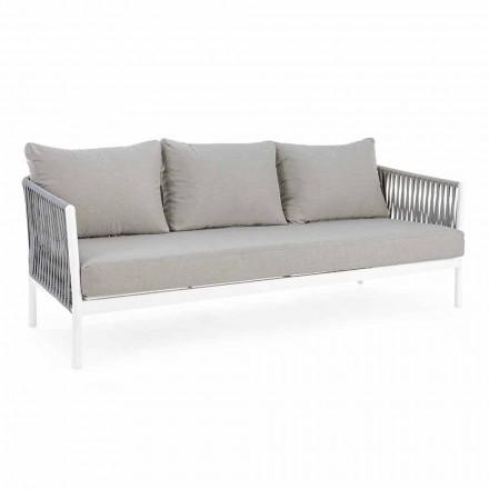Homemotion - Canapé d'extérieur 3 places design Rubio en blanc et gris