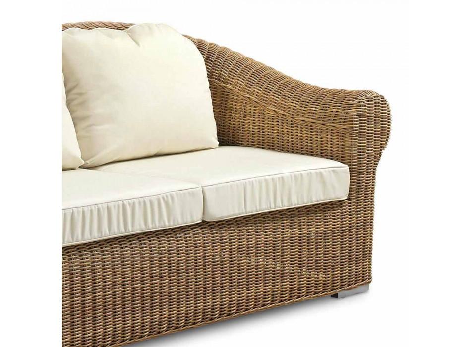 Canapé d'extérieur 3 places en rotin synthétique et tissu blanc ou écru - Yves