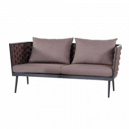 Canapé de jardin 3 places en aluminium et corde avec coussins en tissu - Rasti