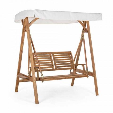 Canapé de jardin à bascule 2 places en bois d'acacia avec toile blanche - Roxen