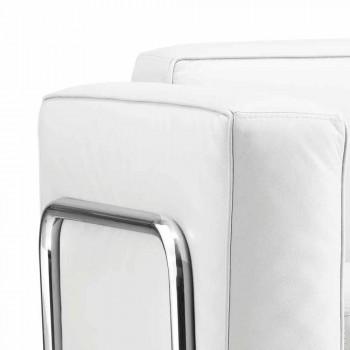 Canapé 2 places moderne en éco-cuir blanc et pièces chromées Bugola